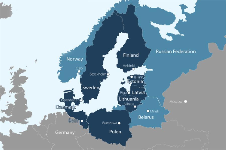 Kart over Østersjøen