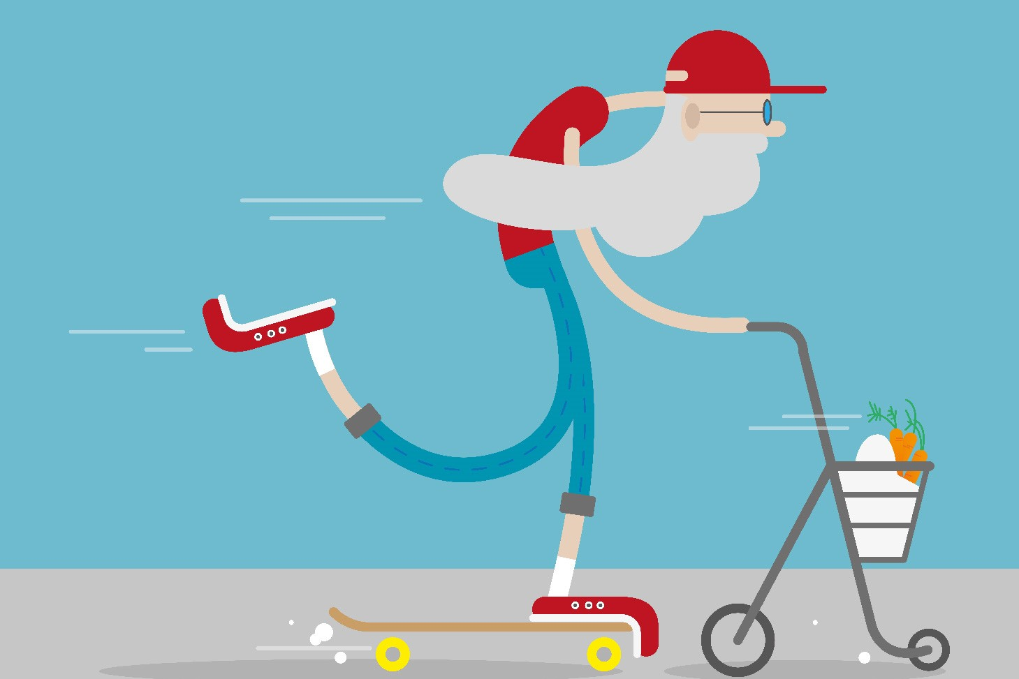 Eldre mann på sparkesykkel